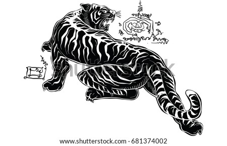 98d28e050 Tattoo vector illustration isolated on white; Tiger head; Thai traditional  tattoo ...