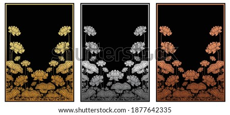 Thailand background (Lai rot nam)  card templates with  Gold,silver,copper lotus  patterned on paper black color Background.  Stockfoto ©