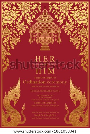 Thailand background (Lai rot nam) Thai Buddhist Monk robes with flower for Ordination ceremony card in buddhist Thai monk ritual for change man to monk in ordination ceremony in buddhist in Thailand. Stock photo ©