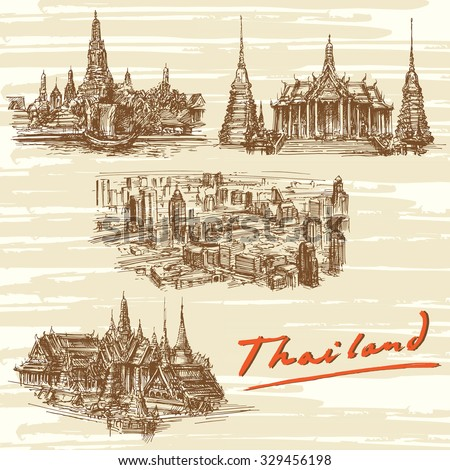 thailand  bangkok   hand drawn