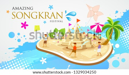 Thailand Festival Songkran Sand pagoda and kite with children are playing in the water design on water splash background , vector illustration