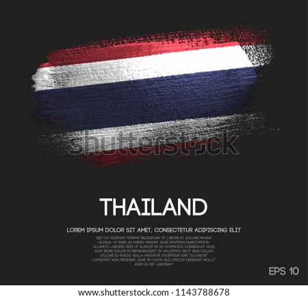Thailand Flag Made of Glitter Sparkle Brush Paint Vector