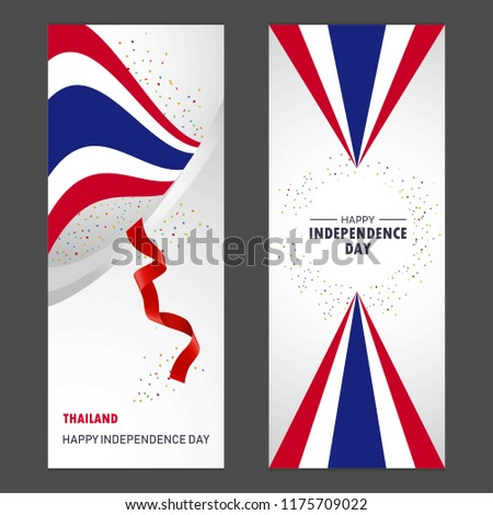 Thailand Happy independence day Confetti Celebration Background Vertical Banner set