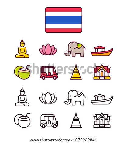 thailand icons set traditional