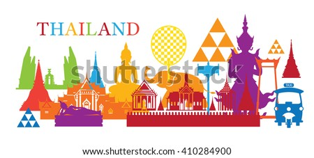 Thailand Landmark Colorful Shapes, Travel Attraction, Traditional Culture #410284900
