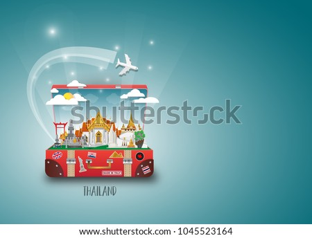Thailand Landmark Global Travel And Journey paper background. Vector Design Template.used for your advertisement, book, banner, template, travel business or presentation.