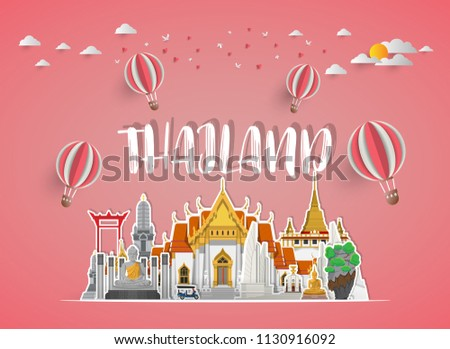 Thailand Landmark Global Travel And Journey paper background. Vector Design Template.used for your advertisement, book, banner, template, travel business or presentation. #1130916092