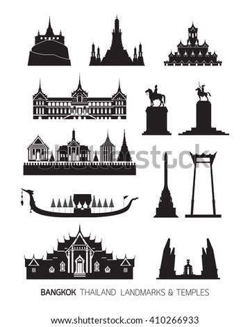 Thailand Landmarks Objects, Silhouette Set, Temples, Palace, Monument, Statues
