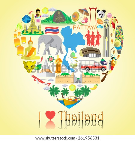 thailand love set vector icons