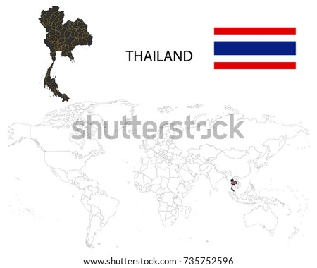 Free vector map of thailand free vector art at vecteezy thailand map on a world map with flag on white background gumiabroncs Images