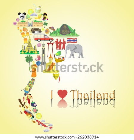 Thailand map. Thai color vector icons and symbols in form of map