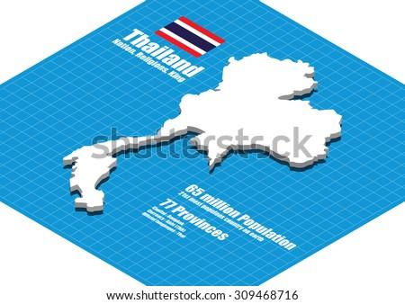 Thailand map vector three dimensional