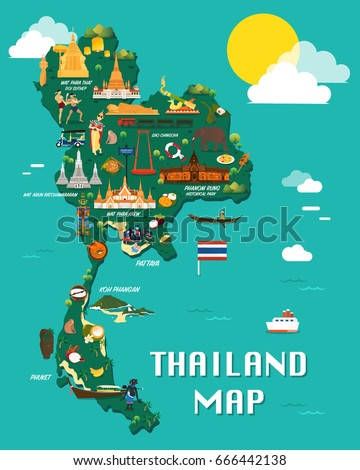 thailand map with colorful