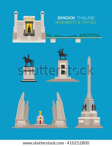 Thailand Monuments and Statues Objects Set, King, Democracy and Victory