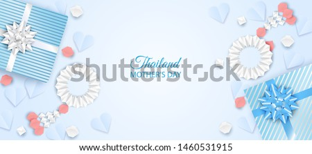 Thailand Mother's day background . Design with garland origami and gift box for mother's day. Thai traditional. vector.