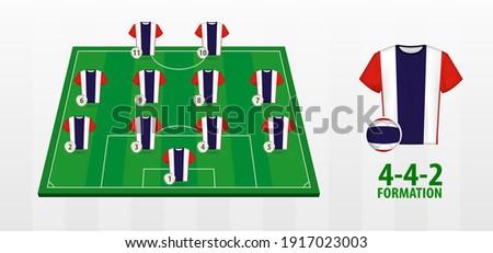 Thailand National Football Team Formation on Football Field. Half green field with soccer jerseys of Thailand team. ストックフォト ©