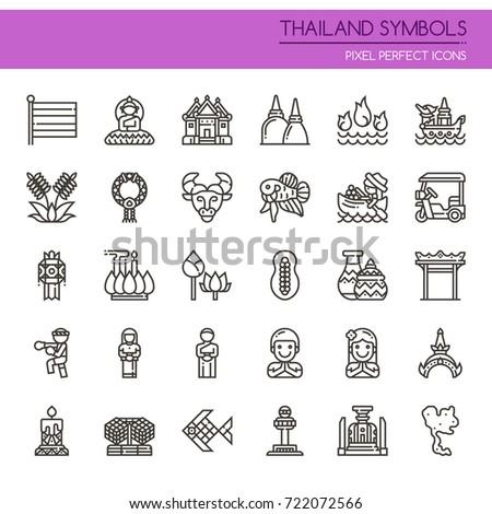thailand symbols   thin line