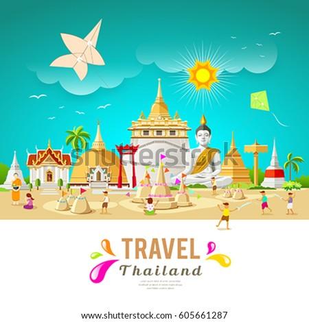 Thailand travel building and landmark in songkran festival summer design background, vector illustration
