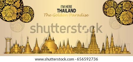 Thailand travel concept (Lai Rod Nam )The Most Beautiful Places To Visit In Thailand in flat style.