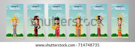 Thailand travel concept - Thai women in Traditional dancing costume, Southern, Northeast, Rattanakosin, Ayutthaya, Chiang Mai, Sukhothai, in flat style.