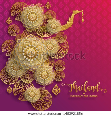 Thailand travel concept The Most Beautiful Places and gold lotus for Visit In Thailand on paper color background.