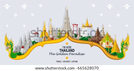 Thailand travel concept The Most Beautiful Places To Visit In Thailand in flat style.