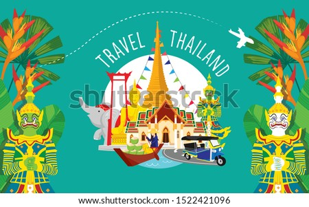 thailand travel icon, Set of architecture, thai people, thailand culture background, Travel Thailand landmarks. Thai vector icons. Vacations poster with thai ethnic elements