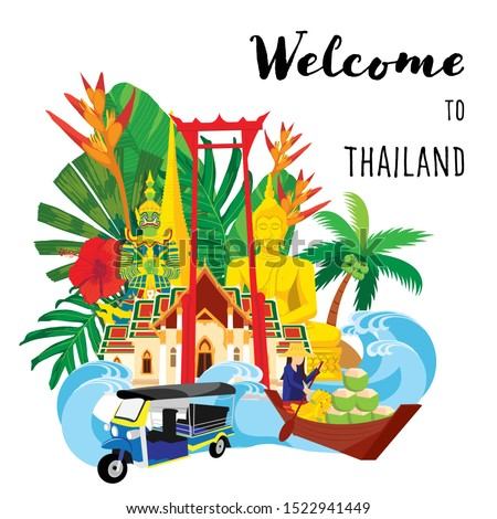 thailand travel icon, Set of architecture, thai people, thailand culture background, Travel Thailand landmarks. Thai vector icons. Vacations poster, thailand with tropical leaf background