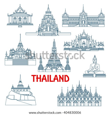 Thailand travel landmarks with Grant Palace and Big Buddha temple, White and Marble temples, Wat Saket temple and Laem Sor pagoda, Wat Sattahip, temple of dawn and temple of Golden Buddha. Thin lines