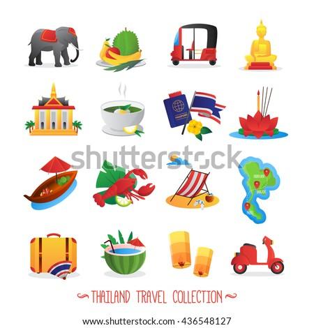 thailand travel symbols flat