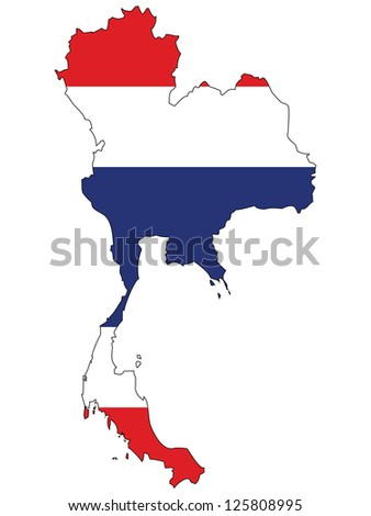 Thailand vector map with the flag inside.