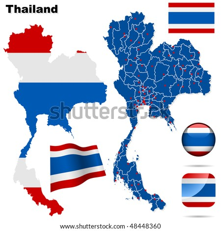 Thailand vector set. Detailed country shape with region borders, flags and icons isolated on white background.