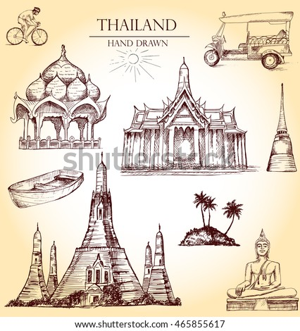 thailand vector set  hand drawn