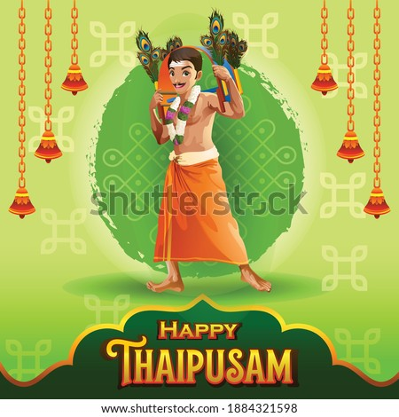 Thaipusam Greetings with Dancing Tamil Devotee Stockfoto ©