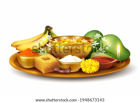 Thali (tray) with traditional food pachadi with all flavors for Indian New Year festival Ugadi (Gudi Padwa, Yugadi). Isolated on white. Vector illustration.