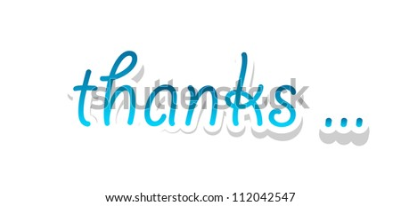 Thank lettering isolated on white. Vector illustration.