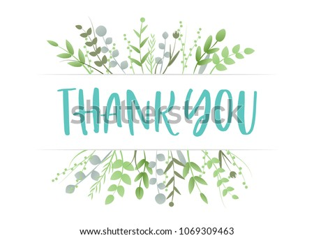 Thank You Appreciation Gratitude Floral Leaves Trendy Typography Vector Background for Greeting Cards, Post Cards, Poster, Flyers, Social Media
