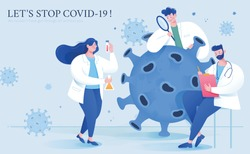 Thank you banner for virus scientists in flat style, with scientists working together to find effective vaccine and treatments for COVID-19