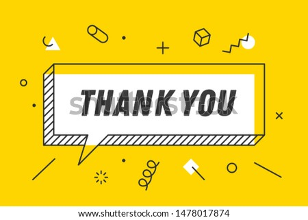 Thank You. Banner, speech bubble, poster concept, geometric style with text thank you. Icon balloon with quote message thank you. Explosion burst design. Vector Illustration