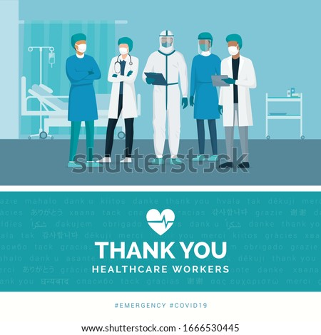 Thank you brave healthcare working in the hospitals and fighting the coronavirus outbreak, vector illustration
