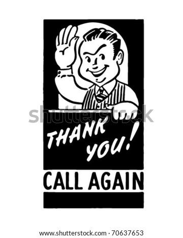 Thank You Call Again - Retro Ad Art Banner