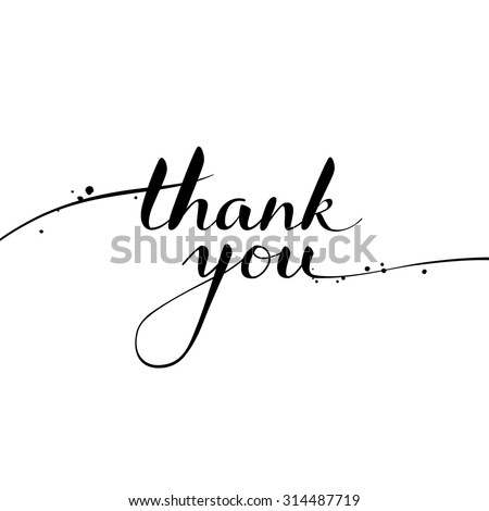 Thank you calligraphy brush painted letters vector Thank you in calligraphy writing