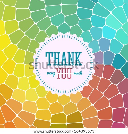 Thank you card on colorful magic background. Gratitude card for different occasions.