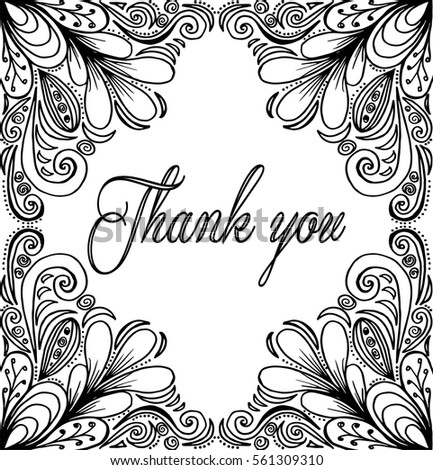 Thank You Card Thanks Vector Isolated Hand Drawn Lettering Doodle