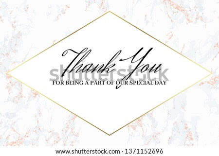 Thank you card. Wedding design template. Pink marble. Marble background and gold text. Dimensions 9x4,5 inch. With 0,25 bleed. Elegant and noble style. Minimalism.