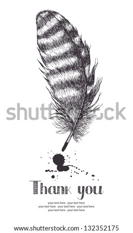 Thank you card with feather