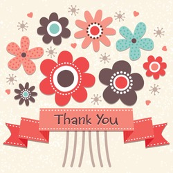 Thank you card with vintage ribbon banner and retro style flowers in salmon pink and cream. Grunge layer can be turned off. See my folio for JPEG version and for this design in other colors.