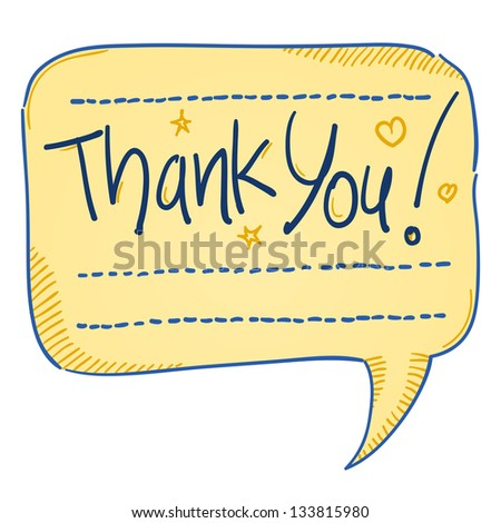 Thank You Comics Bubble - Sketch of handwritten text isolated on white background
