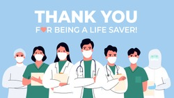 Thank you doctor and Nurses and medical personnel team for fighting the coronavirus. vector illustration