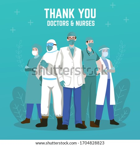 Thank you doctors and nurses. Thank you brave healthcare workers. Doctor is a hero. Medical personnel team for fighting the coronavirus. Eps10 vector illustration.